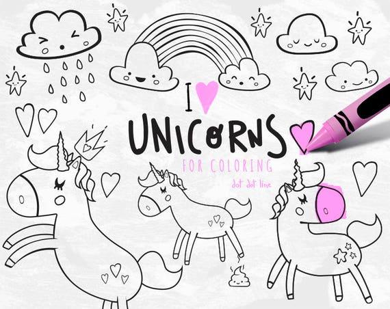 Unicornio Clipart vector Set para descargar INSTANT grupo   Etsy
