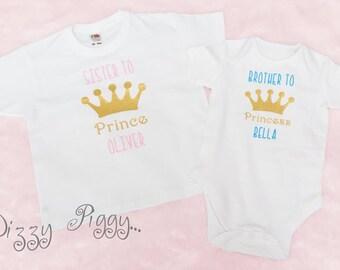 Set of 2 Personalised Prince and Princess Sibling t-shirt set/brother/sister/princess t- shirt/ prince t shirt/baby romper/baby gift