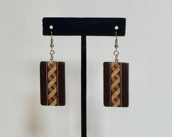 Wood Earrings with Inlay