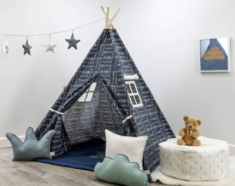 kids room teepee extra large native spruce blue teepee kids teepee teepee tent tee pee blue and white children play kids etsy