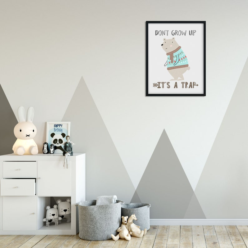 Don/'t Grow Up Nursery Wall Art Wall Art Quotes Cute Kids Wall Art It/'s a Trap Canvas Wall Art Wall Hangings Mouse Wall Decor