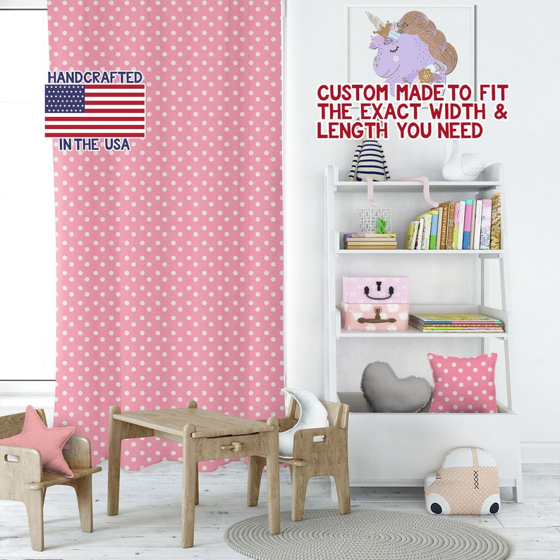 Cute Curtains Kids Room Curtains Childrens Window Curtains Drapery Panels Childrens Curtains P Dot Baby Pink White Playroom Curtains