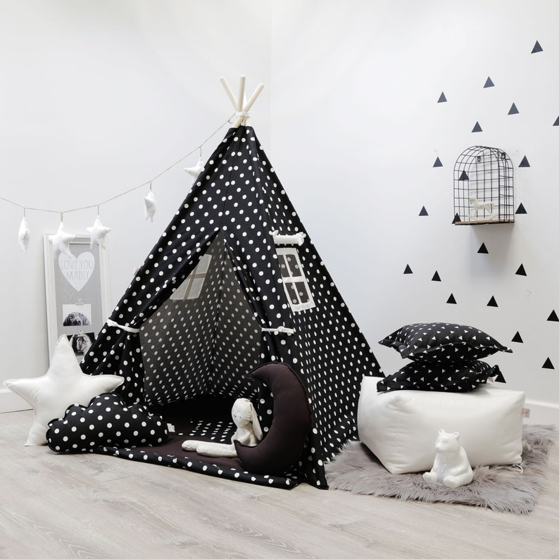 huge discount 9f707 57d60 Polka Dot Black and White, kids teepee, children teepees, kids teepee tent,  teepee tent, tipi tent, kids tee pee, white teepee, tee pee