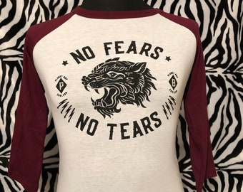 5c5032adf Unisex No Fears No Tears Retro Style Maroon Red And White Baseball Panther  Tiger Planet Bop Sailor Jerry Tattoo Biker Rockabilly Pin-Up