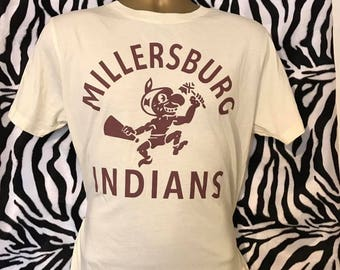 Men's Rockabilly 1950's  Ecru American Varisty Millersburg Indians High School America Screen Print T Shirt  Top Quality Limited Edition !!