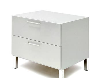 Modern Lateral File Cabinet In White Gloss Finish