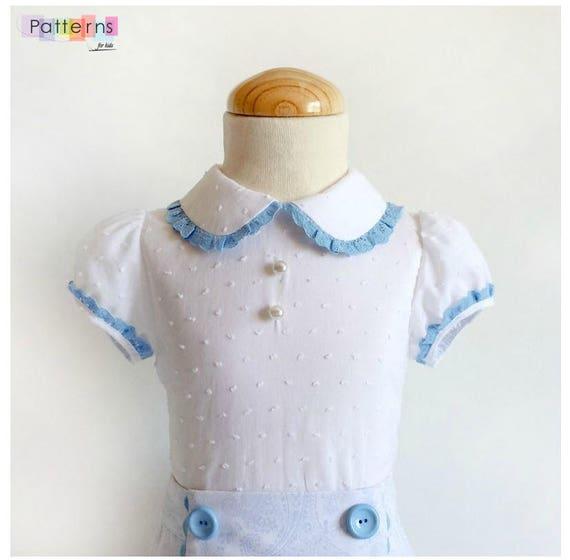 Blusa o camisa de niña con manga farol y cuello bebe PATRON | Etsy