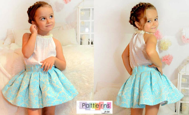 c730219c4 Falda midi con vuelo y tablones PATRON de Costura en PDF ** tallas de 1 a  10 años ** Bebes y niñas Diseño español