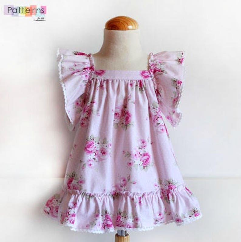 20089a217b0 Floral dress with ruffles in sleeves Sun DRESS for baby babies toddler  girls PDF Sewing PATTERN + Youtube ...