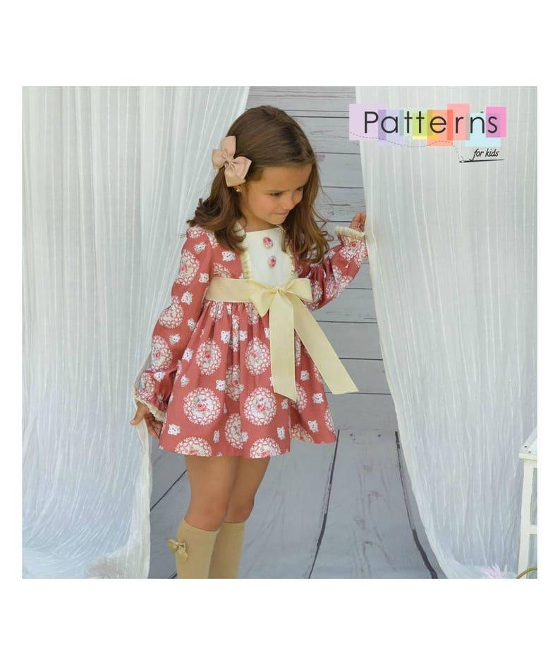 vestido corte imperio para niñas patron de costura en pdf | etsy