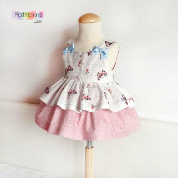 PATRON Costura en PDF Digital Descargable Vestido de mariposas, doble  falda, para niñas y bebés tallas 6 meses 6 años