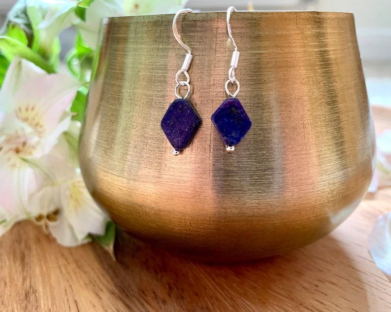 Lapis Lazuli Diamond Drop Earrings