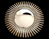 Brass Mirror Art Unique Cartridge Bullet Panoramic Gold Convex Mirror Large Handmade Ammunition mirror - One Of A Kind - Fine Arts
