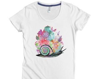 100% Organic Cotton Women's Tee- Snail Bouquet- USA Grown & Sewn