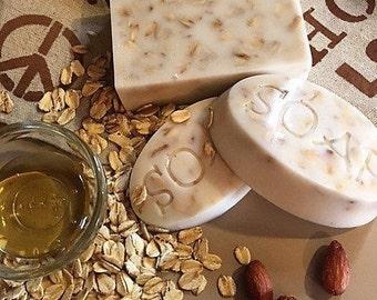Oat and honey natural goats milk soap.