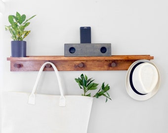 Peg Coat Rack and Shelf - Peg shelf - Peg Coat Rack - Peg wall - Modern Coat Rack - Mudroom Coat Rack