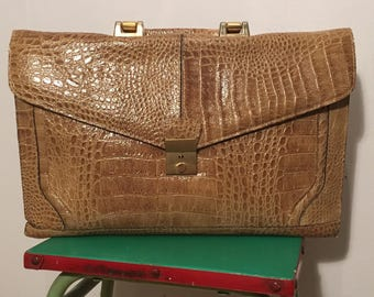 Vintage 1980s Light Brown / Tan Moc Croc Satchel - Made in Italy by Veneto