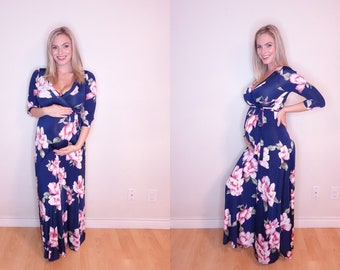 5985806f3e3c4 Maternity Dress for Baby Shower, Stylish Maternity Dress, Gender Reveal  Dress, Pink & Blue Floral Print Maternity Dress, Nursing-Friendly!