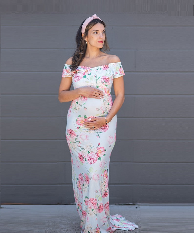 666e851d1e90a Maternity Gown, Floral Print, Mermaid Fit, Baby Shower Gown, Pink Baby  Shower Dress, Maternity Dress, Maternity Dress for Formal Event!