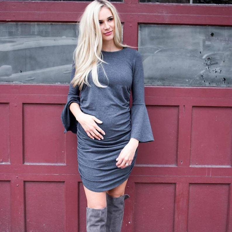 b30cba13ffe Fashionable maternity dress with stylish bell sleeves