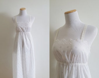 26176438c8bc Vintage 60s, 1960s delicate white floral cutout lace nightie, spaghetti  strap midi lace slip, feminine lounge wear dress, size small S