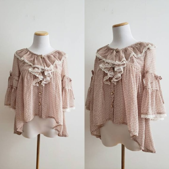Vintage 70s, 1970s cream and pink ditsy floral but