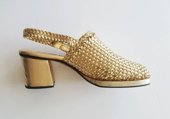 with gold trendy with heel size block shiny clogs 70s leather strap Vintage heel 7 braided 1970s mules 3 inch xwWpEWY4gq