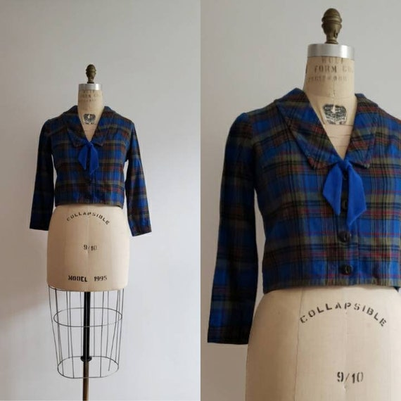 Blouse and Bandana Skirt Set with Belt and Scarf Shirt Vintage 1970/'s Colorful Plaid Handmade Top