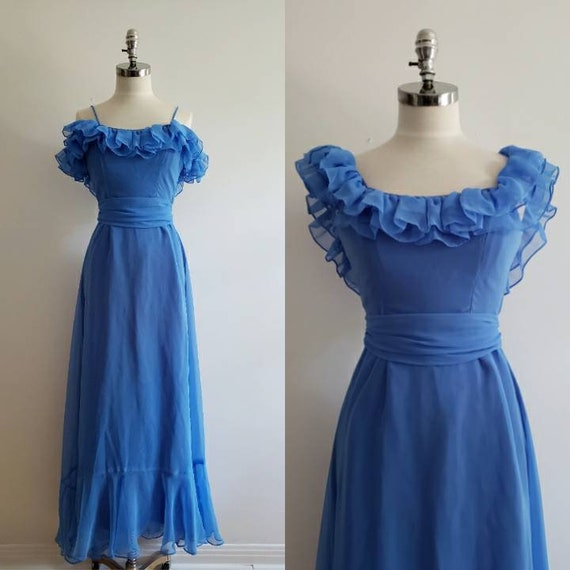 Vintage 80s, 1980s blue chiffon maxi prom evening