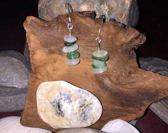 Sea glass 925 silver earrings