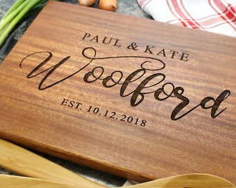 Personalized Cutting Board - Engraved Cutting Board, Custom Cutting Board, Housewarming Gift, Wedding Gift, Engagement, Anniversary (038)