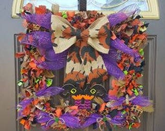 Samhain Rag Wreath-UNIQUE, handmade, handcrafted, witch, square, festive