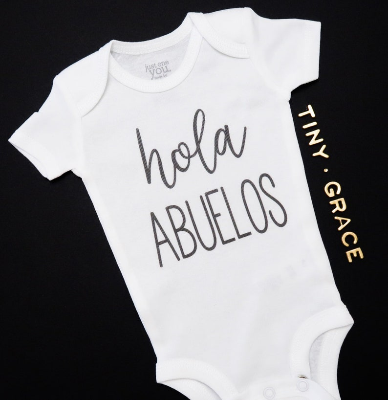 Hola Abuelo Spanish Custom Reveal Pregnancy Announcement Baby Onesie Grandpa