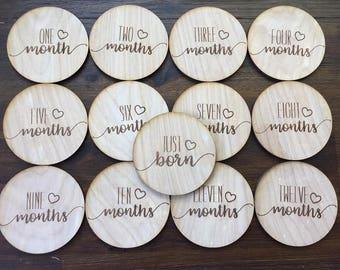 Heart Baby Monthly Milestone Plaques