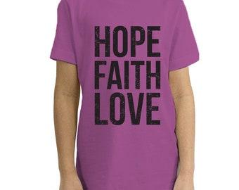 Hope, Faith, Love - Organic Youth Short Sleeve