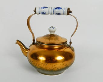 Copper with handles ceramic teapot