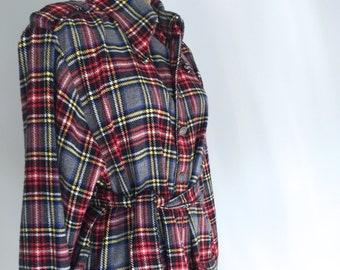 80s Wool Blend Tartan Belted Jacket, Plaid Coat, Vintage Jacket, Belted Coat, Vintage, Women's Vintage, New Zealand,Size 10-14 US  12-16 UK