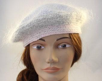 7087e496b22fd Béret de mohair gris et rose pastel, mohair laine Tam, chapeau d'hiver, laine  mohair, Nouvelle-Zélande fait *