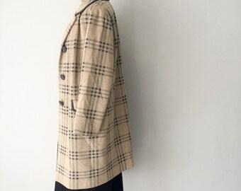 1960s Glamis Tweed Coat, Womens Tartan Coat, 1960s, New Zealand, Vintage Coat, Winter Coat, Size 10 US 12 UK, Tweed, Tartan, Plaid, Beige, D