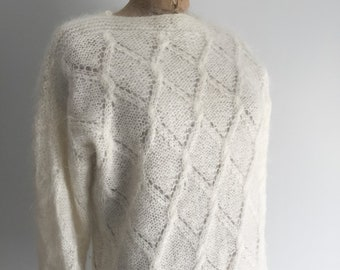Cream Mohair Pullover, Vintage Sweater, Knitted Mohair Sweater, Womens Vintage Sweater, Made In New Zealand, Womens Clothing, SZ 6-10 US, D