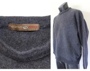 0185da0af32e3b Possum Merino Wool Mens Wool Sweater, Mens Medium, Womens Large, Gray Mens  Jersey, Made In New Zealand, Winter Jersey, 100% Wool, Gray Grey*