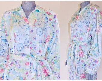 46 Bust Size 14-16 US LargeXL Long Robe Short Sleeve* 90s Dressing Gown Orchid Purple Florals Robe