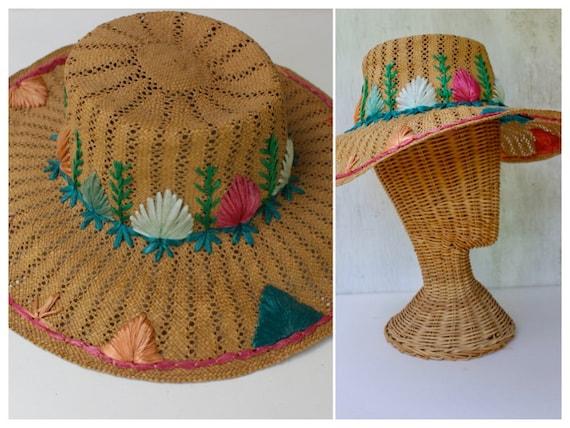 Vintage 1960s Straw Weaved Sun Hat with Raffia det