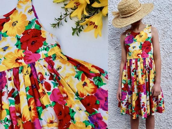 Vintage Florals 80s Girls Cotton Summer Dress 8-10