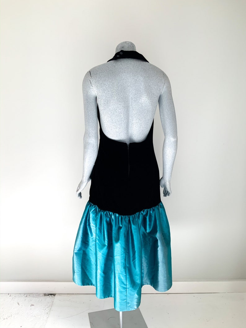 Vintage 80s Dress Halter Neck Fitted Bodice Green Ball Gown 35\u201d Bust Size 6-8 US 80/'s Teal Green Blue Prom Dress Ballroom Dress D