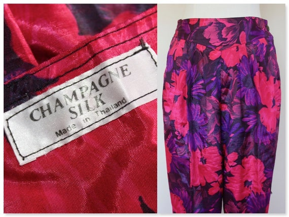 High Waisted Floral Silk Pants, Vintage Trousers,