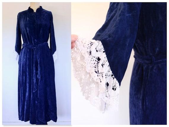 1940s Marlow Blue Velvet Opera Coat, 40s Velvet Co