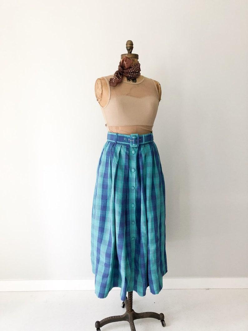 Full Pleated Belted Skirt Thornton Hall Linen Skirt 10-12 UK Greenl And Blue Skirt Vintage New Zealand D 1980s Skirt Size 8-10 US