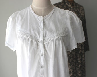 White Cotton Lace Nightie, Size Small, Lace Nightgown, Nightdress, Cotton, Sleepwear, Vintage, New Zealand, Summer Nightie *