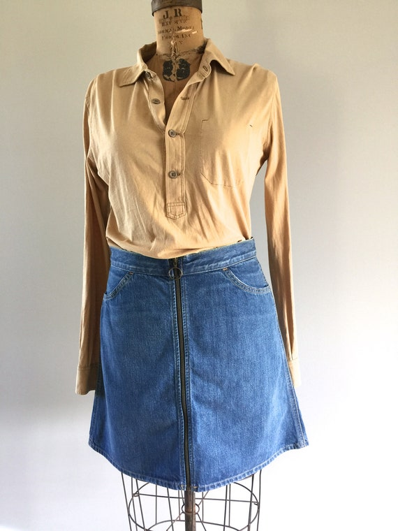 Levis 1980s A-Line Mini Skirt, Full Zippered Front